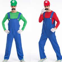 Man Super Mario Bros Cosplay Jumpsuit With Mustache