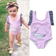 Cute Swan Ruffled Baby Girl One Peice Swimsuit Girls Clothing Ruffle Animal Swimwear Bodysuit Beachwear Monokini Banadores