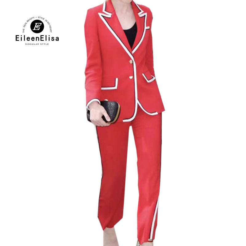 New Women Sets Long Sleeve Jacket&Pants 2 Two Pieces Set 2018 Elegant Women Set Red