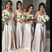2019 пляжное Недорогое Платье подружки невесты с Боковым Разрезом, кружевное платье для свадебной вечеринки, длинное платье с аппликацией дл