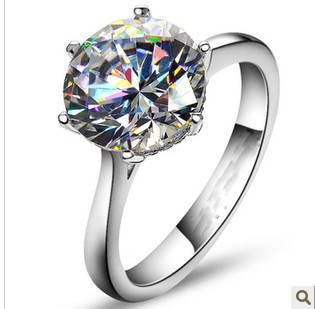 4Carat European and American Style Synthetic Diamonds Engagement Ring Genuine 925 Sterling Silver Jewelry Ring-in Engagement Rings from Jewelry & Accessories    1