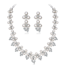 Royal Dubai Jewelry Sets Luxurious Pearl Necklace Earrings Set  Crystal Wedding Jewellery Set for Women red crystal pearls bride wedding jewelry sets tiaras necklace earrings 3pcs set women party prom pearl hair jewelry ornament set