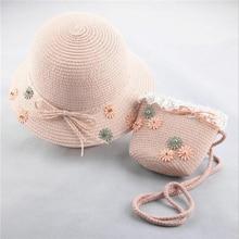 цена на Fashion Small Fresh Child Straw Hat Baby Sun Hat Girl Summer Cap beach Visor Hat Straw Bag Two-Piece Set