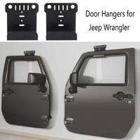 KEMiMOTO Wrangler Door Hanger Storage Rack Bracket Set of 2 Hanger For jeep CJ YJ TJ LJ JK JKU and the all new JL Built for Jeep