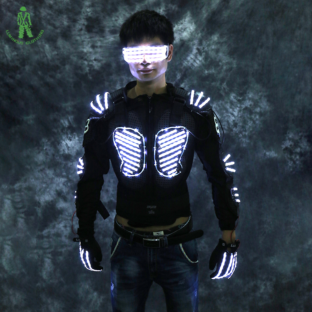 Free Shipping LED Luminous Armor Lighting Robot Suit With Glasses - Festive and Party Supplies