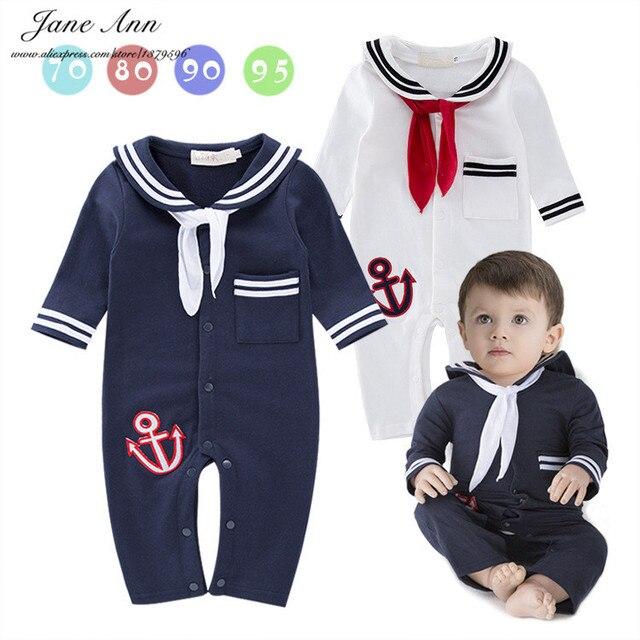 Мальчик обмундирование хлопка матрос флот стиль ползунки с длинным рукавом комбинезон для новорожденных лето праздник день рождения одежда
