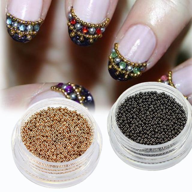 1Box 0.8mm 1mm Nail Art Beads Rose Gold/Gun Grey Steel Nail Tip ...