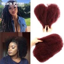 Schwarz Perle Brasilianische Remy Haar Afro verworrenes Lockiges Menschliches Haar Für Flechten 1 Bundle 50 gr/teil Zöpfe Haar Keine schuss