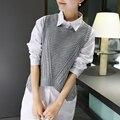 Nueva moda otoño invierno mujeres Sin Mangas Del O-cuello femenino suéter de color Sólido suéter de punto chaleco tops ropa