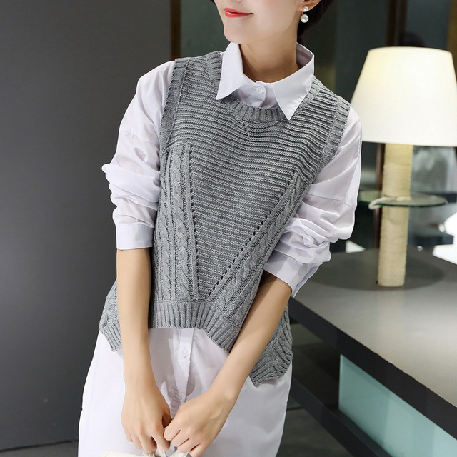 new fashion autumn winter women Sleeveless O-Neck Solid color sweater female knitted pullover vest tops clothing