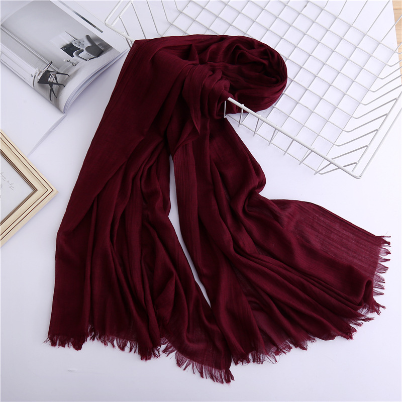 2019 vintage solid women   scarf   spring winter lady shawls and   wraps   cotton pashmina head   scarves   female hijab sunsreen stoles