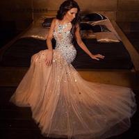 Русалка выпускное платье цвета шампанского длинные Rhinestone 2019 Тюль Кристалл блестками блестящие платья Junior High Платья для выпускного