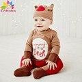 Enbaba мальчики одежда зима марка рождественские подарки малыш мальчик одежда наборы Животных длинное письмо комбинезоны комбинезон + шляпа 2 шт. костюмы