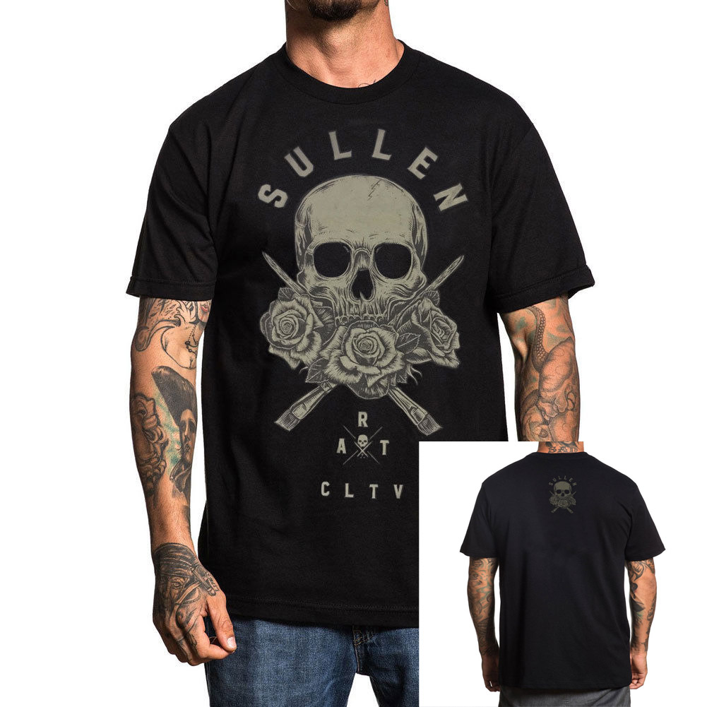 b2dad08a65d Detail Feedback Questions about Sullen Men s 3 Roses T Shirt Black Tattooed  Tee T Shirt Clothing Apparel 2018 Summer Men S Brand Clothing O Neck on ...