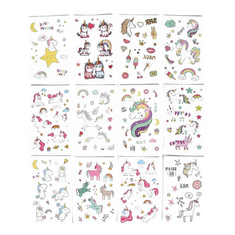 1 Pcs Cartoon Unicorn Tattoo For Kid Cute Fake Taty Children Tatouage Temporaire Body Art Waterproof Temporary Tattoo Sticker