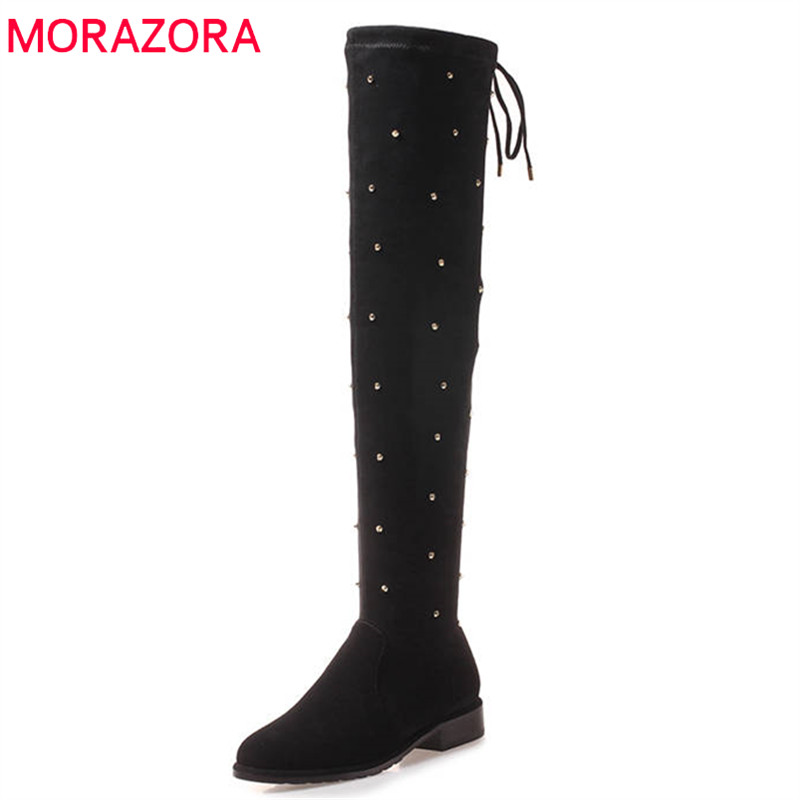 MORAZORA 2018 top quality over the knee boots women flock pointed toe autumn winter boots zipper rivet fashion long boots shoes morazora 2018 new arrival over the knee boots women flock autumn winter boots fashion sexy long boots high heels dress shoes