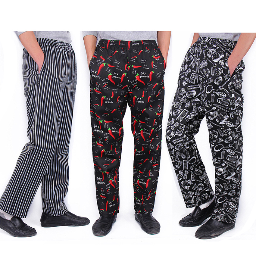 Men Loose Style Trousers Chili Print Solid Spandex Chef Uniform Fancy Costumes Kitchen Restaurant Bakery Cook Clothing Pants