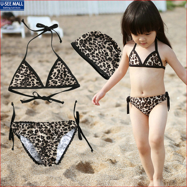 53947ac64f2 Sexy Leopard Print Little Girls Bikini Swimwear 2-7Years Korean Summer  Style biquinis infantis Baby Girl Bathing Suits Wholesale