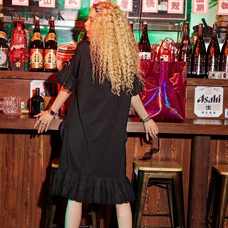 Image 2 - ELF SACK Women Oversize letnie sukienki kieszenie koronkowe długie sukienki damskie O Neck Mixi Plus Size sukienki damskie nadrukowana odzież w Suknie od Odzież damska na