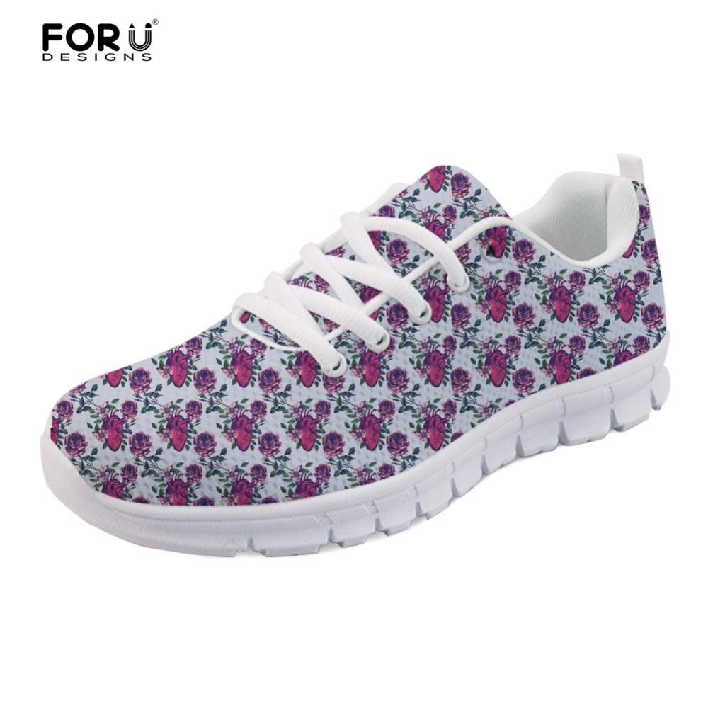 FORUDESIGNS Lace-up Women Breathable Mesh Shoes Flats Anatomical Hearts Pattern Sneakers Woman Light Weight Women Casual Shoes велосипед scool rax flat 20 18 s 2016