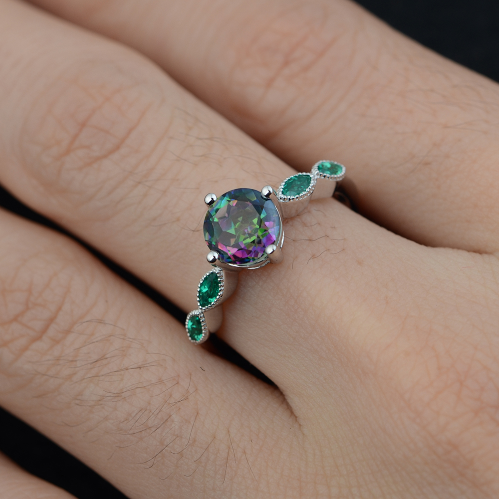 US $55 8 40% OFF|Leige Jewelry Round Cut Rainbow Gemstone Rings Mystic  Topaz Ring with Emerald Side Stone 925 Silver for Women Anniversary Gift-in