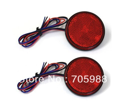 2*Red LED Reflectors Round Brake Light Universal Motorcycle Car Truck led  Brake Lights  1 piece red rectangle red len led reflectors brake light universal motorcycle brake light car brake lights moto stop light