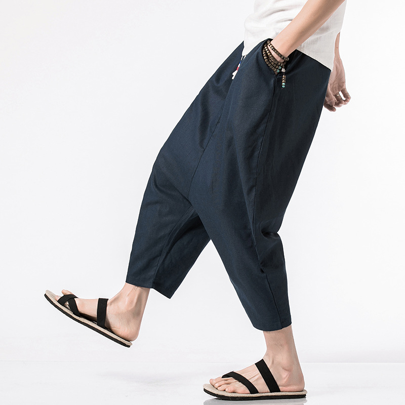 Summer Cropped Trousers Chinese Linen Long Trousers For Men Harem Pants Bermuda Casual Short Pants