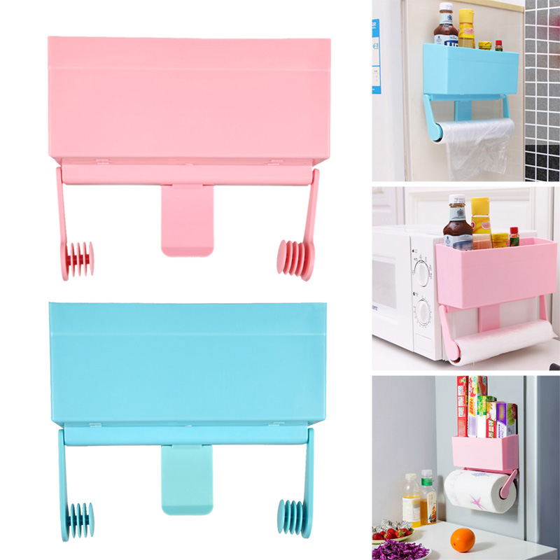 unique tidy magnetic refrigerator kitchen storage rack decorative wall shelves bottle rack cling film holder rangement - Decorative Wall Shelves