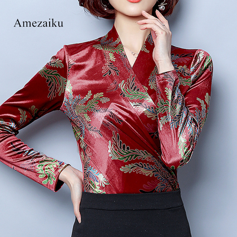 red velvet   Blouses     Shirts   Women's Autumn Winter   Shirts   Tops Velvet Blusas Top v neck flora print club party wear