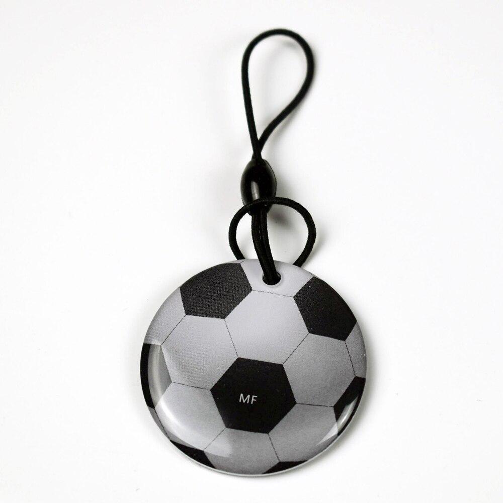 100 pcs lot 125Khz Cartoon Writable Waterproof Epoxy Tags Proximity RFID Rewritable T5577 Football Key Card