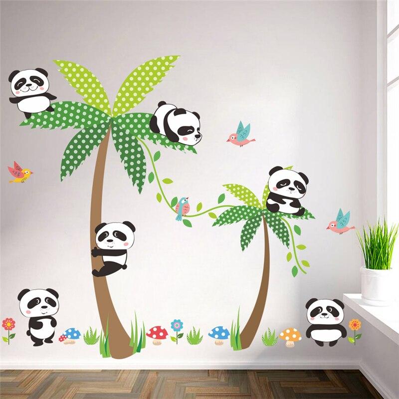 2 58 5 De Reduction Mignon Panda Palmier Oiseaux Stickers Muraux Pour Enfants Chambres Chambre Decor A La Maison Dessin Anime Animal Stickers