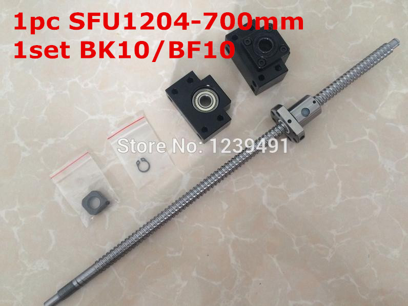 1Set SFU1204 Ballscrew 700mm end machined+ 1set BK/BF10 Support cnc parts