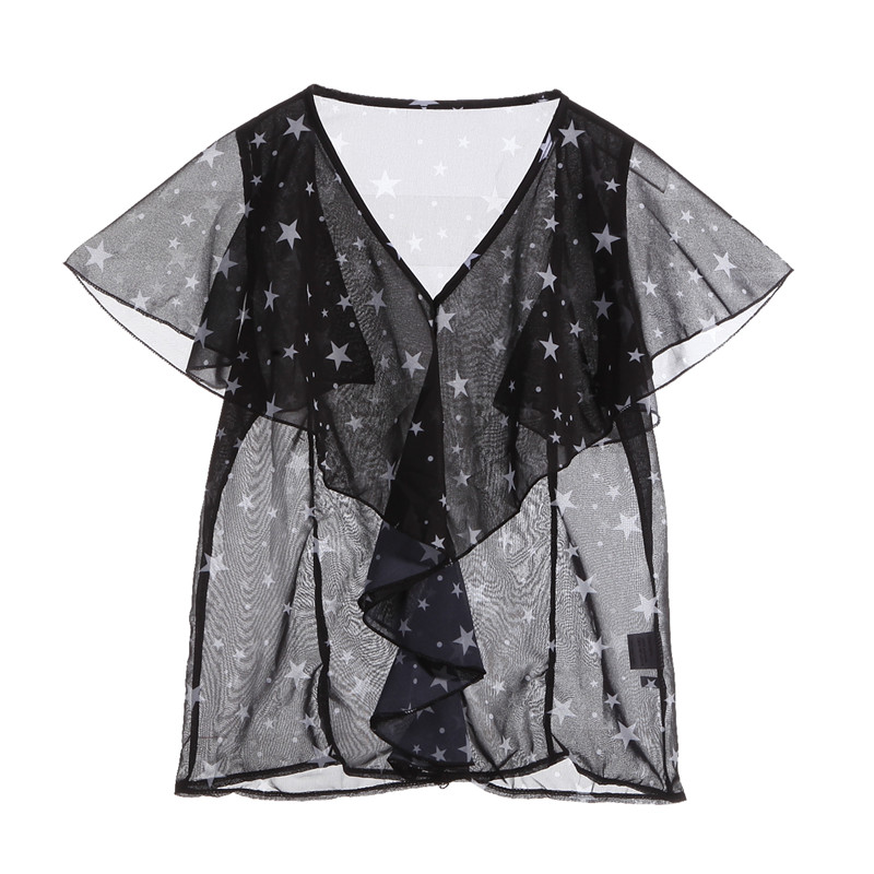 Fashion <font><b>Stars</b></font> print blouses summer short sleeve <font><b>2018</b></font> Womens Ruffles V Neck Elegant OL <font><b>ladies</b></font> female clothings Chiffon <font><b>sexy</b></font> Tops image