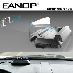 EANOP зеркало HUD Дисплей Авто HUD OBD2 elm327 автомобиля Скорость проектор Скорость ometer автомобиля детектор KMH KPM спидометр автомобиля проектор на ло...
