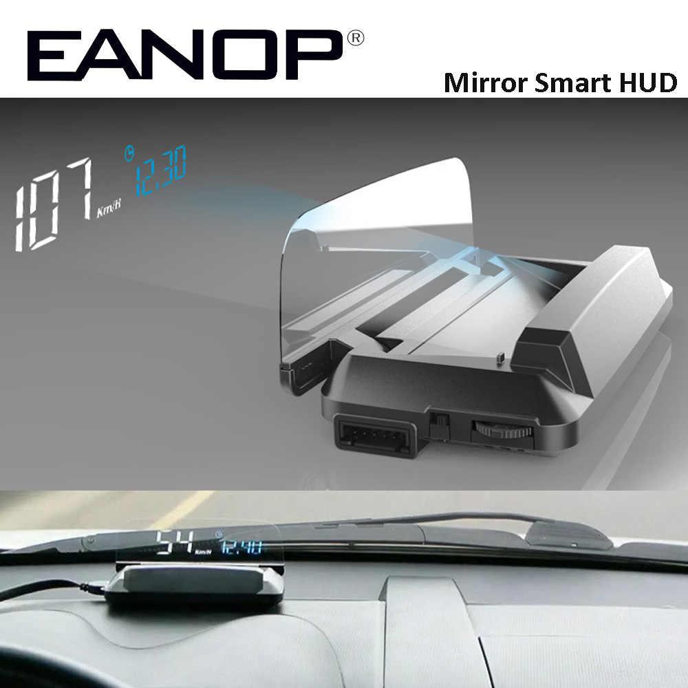 EANOP зеркало HUD Дисплей Авто HUD OBD2 elm327 автомобиля Скорость проектор Скорость ometer автомобиля детектор KMH KPM спидометр автомобиля проектор на лобовое стекло