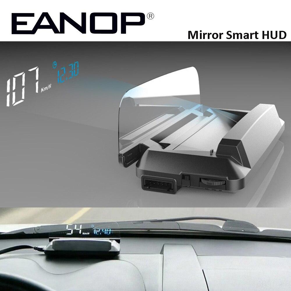 EANOP Miroir HUD Head Up display Auto HUD OBD2 elm327 De Voiture Vitesse Projecteur Compteur De Vitesse De Voiture Détecteur KMH KPM