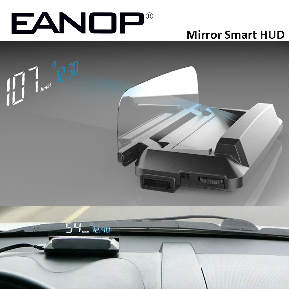EANOP Mirror HUD Head Up display Auto HUD OBD2 elm327 Car Speed Projector Speedometer Car Detector KMH KPM speed warning system c500 car hud obd2 mirror hud head up display rpm speedometer projector
