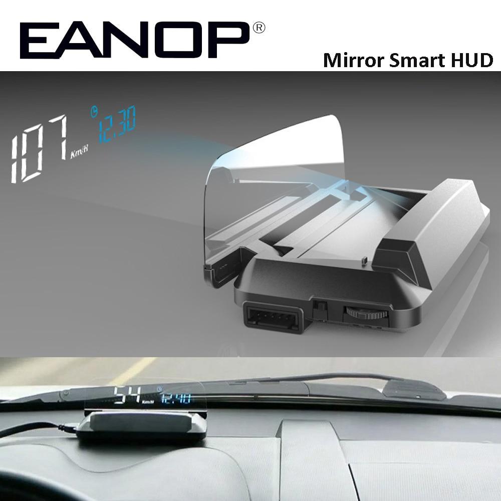 EANOP miroir HUD affichage tête haute Auto HUD OBD2 projecteur de vitesse de voiture compteur de vitesse détecteur de voiture KMH KPM
