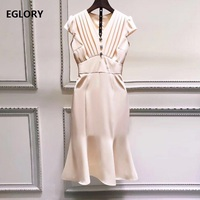 High Quality Brand New 2019 Summer Fashion Office Dress Business Women V Neck Beading Button Short Sleeve Party Mermaid Dress