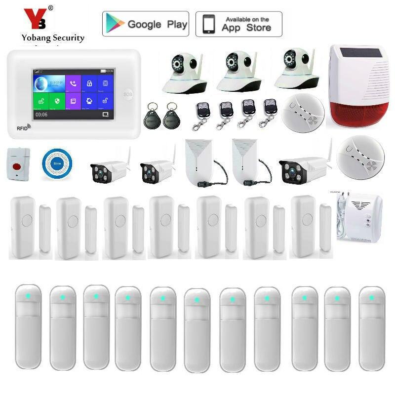 Yobang безопасности движения PIR сенсор 4,3 дюймов полный сенсорный экран двери сенсор GPRS SMS Wi Fi дома охранной сигнализации системы Дистанционное
