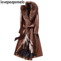 Кожаные женские 2018 Новинка зимы кожа длинное пальто модные тонкие большой Лисий Мех Мао линцзюнь зеленый Для женщин кожа Костюмы D324
