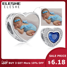ELESHE European DIY Blue Crystal Beads 925 Sterling Silver Charm Fit Original Pandora Bracelet Custom Photo Personalized Jewelry
