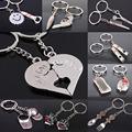 New llaveros keyboard keychain fashion porte clef heart kiss love couple Keychain key ring comb hat Scissor whistle Chaveiros
