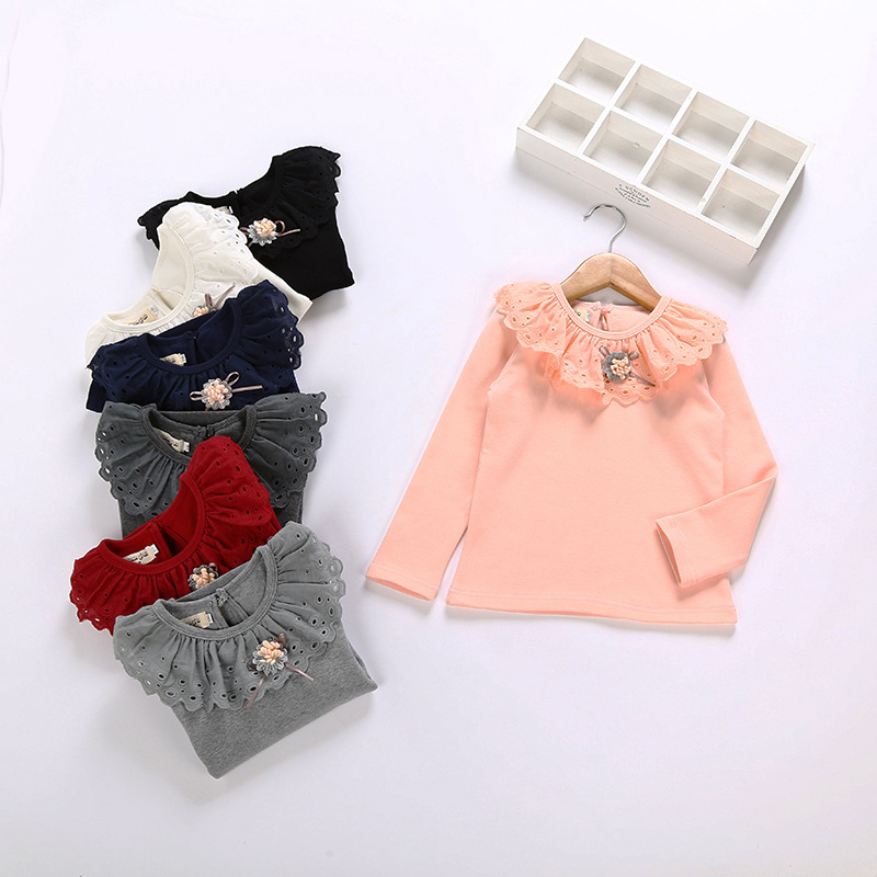 kids girl floral Tshirts Girls all-match cotton long sleeved shirt slim lace blouse Bottoming shirt kids girl top tee 4-12yrs