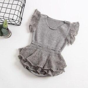 Image 3 - Bebek Tulum Yenidoğan Örme Bebek Giysileri Fırfır Bebek Kız Romper Pamuk Yün Prenses Bebek Bebek Tulum Kız Elbise