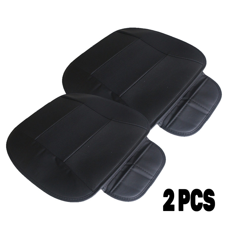 2pcs PU Leather Front Car Cover Seat  Black Seat Protector Cushion Black Bamboo Charcoal Automotive interior accessories-in Automobiles Seat Covers from Automobiles & Motorcycles