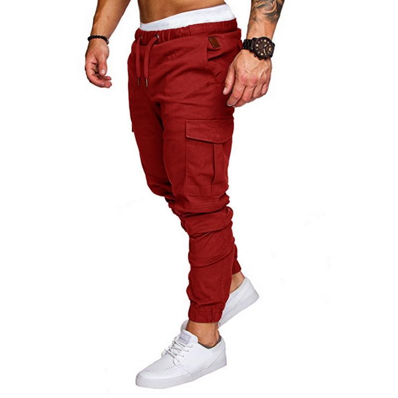 10 цветов мужские Новые повседневные брюки карго размера плюс спортивные брюки для бега черные брюки для фитнеса одежда для спортзала с карманами спортивные штаны для отдыха - Цвет: red pants1