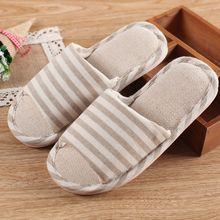 New Home Slippers Household Linen Striped Skid Slipper Indoor Slipper Summer Women Men Lover Floor Shoe Japanese Korean Style(China)