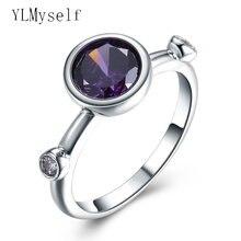 Круглое кольцо с фиолетовым кристаллом циркона отличное качество