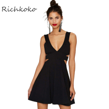 Richkoko Fashion Sexy Hollow Out A-Line Dress Backless Zipper Mini Dress Women Clohting Summer Casual Chic Female Vestiod Dress(China)